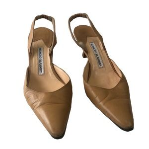 Manlo Blanik Pointed Toe Slingback Leather Heels